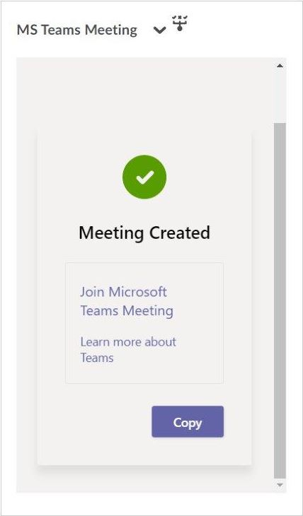 Meeting successfully created
