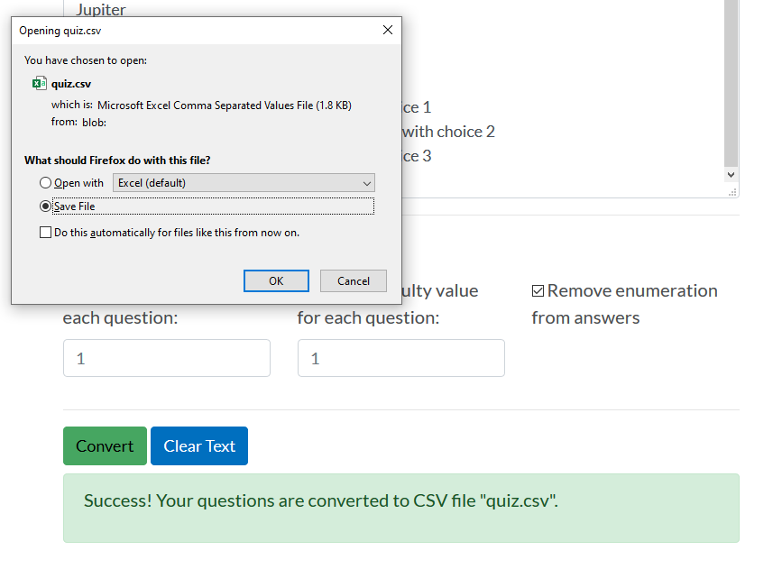 Saving imported Quiz questions