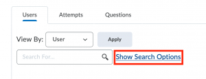 Selecting Show Search Options