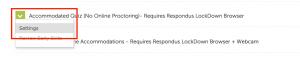Adjust Respondus quiz settings
