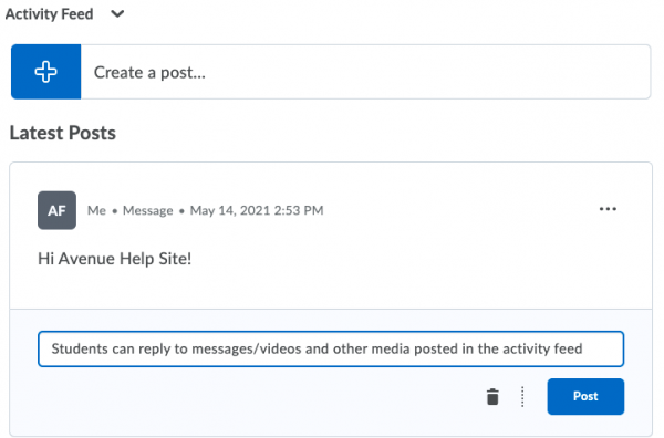 Activity Feed with message