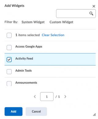 Selecting Activity Feed box