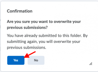 Clicking yes on Confirmation pop-up webpage