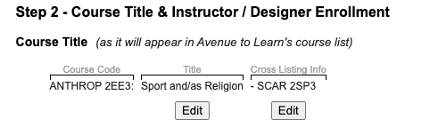 Editing your Course Code & Title