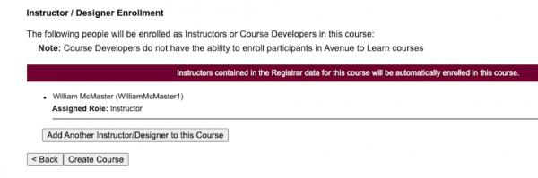 Instructor/Designer Enrollment Section