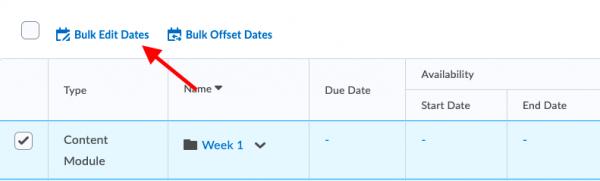 Clicking Bulk Edit Dates
