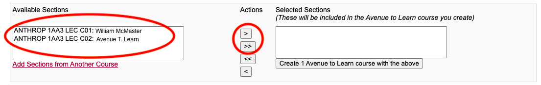 Clicking Available Sections and moving the course(s) to Selected Sections