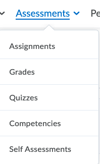 Assessments Drop Down Menu
